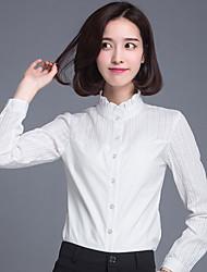 Feminino Camisa Social Trabalho Tamanhos Grandes Simples Primavera Outono,Sólido Retalhos Algodão Colarinho Chinês Manga Longa Fina