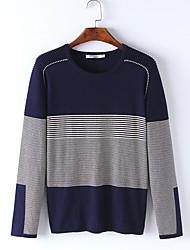 Men's Color Block Casual Pullover,Cotton Long Sleeve Blue