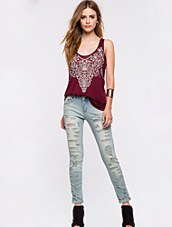 Women's Print Red Tanks,Strap Sleeveless