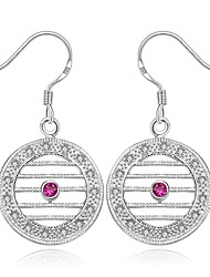 Ruby Gemstone Silver Plated Fashion Round Silver Jewelry Wedding Party Daily Casual Sports 1 pair