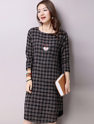 Women's Casual/Daily Street chic Loose Thin Dress,Check Knee-length / Asymmetrical Long Sleeve Cotton / Linen