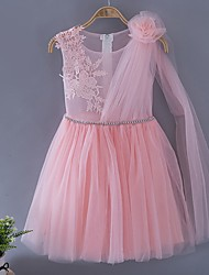A-line Knee-length Flower Girl Dress - Tulle Sleeveless Scoop with Appliques / Flower(s)