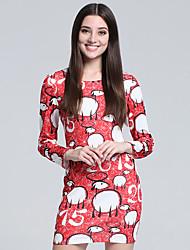 Gaine Robe Femme Décontracté / Quotidien Mignon,Imprimé Col Arrondi Mini Manches Longues Rouge Coton Automne Taille Haute Micro-élastique