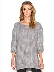 Normal Pullover Femme Décontracté / Quotidien Chic de Rue,Couleur Pleine Gris Col Arrondi Manches Longues Coton Printemps / Automne Epais