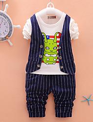 Boy's Cotton Spring/Autumn Fashion Cartoon Print Stripes Casual Vest Coat Jacket Shirt Pants Sport Suit Three-piece Set