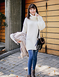 Women's Casual/Daily Simple Long Pullover,Solid White Turtleneck Long Sleeve Acrylic Fall Winter Medium Micro-elastic