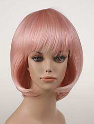 japonês de alta qualidade luz cabelo sintético pink anime traje cosplay peruca curta bob