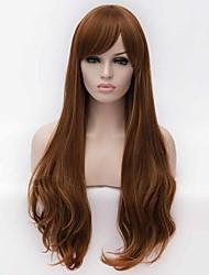 la mode des perruques synthétiques multi-couleur de qualité supérieure longs ondulés lumière perruque brownsynthetic de vente chaude.