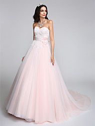 LAN TING BRIDE A-line Wedding Dress Wedding Dress in Color Chapel Train Sweetheart Tulle with Appliques Bow