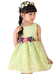 Girl's Casual/Daily Floral Dress,Rayon Summer Green / Red / White