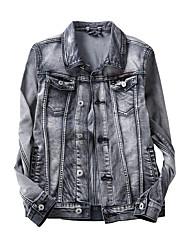 Men's Slim Retro Nostalgia Bleached Stretch Denim Jacket,Cotton / Polyester Solid White