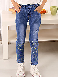 Girl's Cotton Spring/Autumn Fashion Stars And The Moon Print Children Jeans
