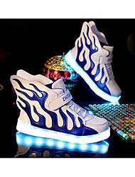Para Meninos-Tênis-Conforto Light Up Shoes-Rasteiro-Azul Verde Prateado-Tule Couro Ecológico-Casual