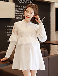 Maternity Going out Simple Loose Dress,Solid V Neck Above Knee Long Sleeve White Polyester Fall