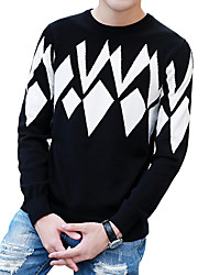 Men's Casual Slim Geometric Pattern Knit Pullovers,Wool / Cotton Long Sleeve Black / Blue / Red