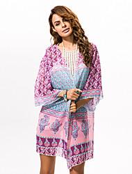 # Damen Rundhalsausschnitt Lange Ärmel Pullover & Cardigan Rosa / Lila-0423