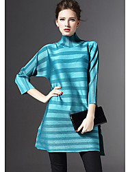 Women's Casual/Daily Sophisticated Loose Dress,Striped Crew Neck Above Knee ¾ Sleeve Multi-color Polyester Fall