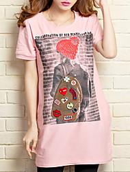 T-shirt Maternità Con balze Rotonda Manica corta Cotone