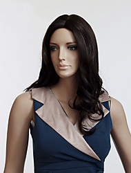 Hot Selling Brown Color Long European Wavy Women Synthetic Wigs
