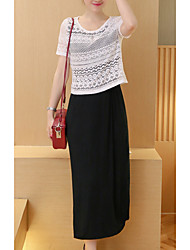 Women's Casual/Daily Simple Lace / Little Black Dress,Solid Round Neck Above Knee Short Sleeve Multi-color Others Summer