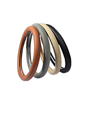 Leather Steering Wheel Cover White Plastic Nontoxic Odorless Slip Resistant Feel Comfortable