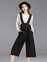 Dreamy Land Women's Solid White Jumpsuits,Vintage Round Neck Long Sleeve