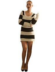 Women's Casual/Daily Sexy / Vintage / Cute Dress,Striped Above Knee Long Sleeve Multi-color Acrylic / Spandex Spring / Fall / Winter