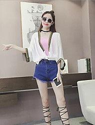 Women's Casual/Daily Simple Summer Blouse,Solid Cowl ¾ Sleeve White / Black Polyester Sheer