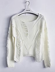 Women's Casual/Daily / Club Sexy / Simple Short Pullover,Solid White / Black Round Neck Long Sleeve Acrylic Fall Medium