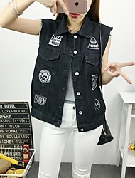 Women's Casual/Daily Simple Summer Denim Jackets,Letter Shirt Collar Sleeveless Black Polyester Medium