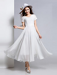 BORME® Women's Round Neck Short Sleeve Tea-length Dress-Z105