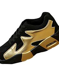 Feminino-Tênis-Conforto-Rasteiro-Dourado Preto e Vermelho Preto e Branco-Tule Couro Ecológico-Para Esporte