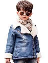 Boy's Cotton Spring/Autumn/Winter Fashion Long Sleeve Cowboy Outerwear Denim Jacket Coat Fleece Lining Thicken