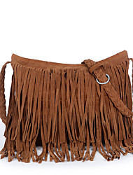 Women PU Casual  Outdoor  Shopping Woven Hemp Rope Solid Tassel Shoulder Bag