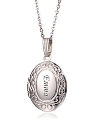 Personalized Egg Shaped Pendant Necklace Customized Bridesmaid Necklaces Wedding Jewelry Silver Alloy With Gift Box
