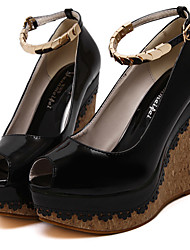 Women's Sandals Summer Wedges / Open Toe PU Casual Wedge Heel Others Black / Red / Nude Others