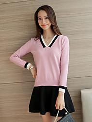 Damen Standard Pullover-Lässig/Alltäglich Einfach Solide Rosa / Schwarz / Grau V-Ausschnitt Langarm Baumwolle Frühling Mittel