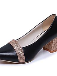 Damen-High Heels-Lässig-PU-Flacher Absatz-Komfort-Schwarz Silber Gold