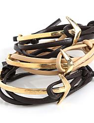 Beadia 1Pc Fashion Leather Charm Anchor Bracelet Men Wrap Bracelet Christmas Gifts