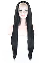 L-email 70cm Heat Resistant Long Straight Black Women Fiber Fashion Synthetic Lace Front Wig Natural Lace Wigs