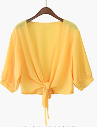 Women's Casual/Daily Simple Summer Cloak/Capes,Solid Halter Long Sleeve White / Yellow Polyester Medium