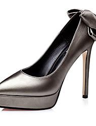 Damen High Heels PU Sommer Normal Schleife Stöckelabsatz Schwarz Silber Grau Rot 10 - 12 cm