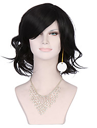 Black Color Middle Curly Women Fashion European and American Synthetic Wigs