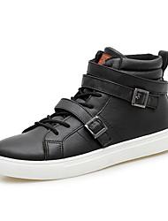 Herren-Stiefel-Outddor-PU-Flacher Absatz-Modische Stiefel-Schwarz / Weiß