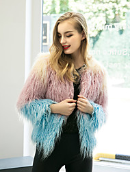 Women's Street chic Loose Fur Coat,Color Block Round Neck Long Sleeve Faux Fur  Multi-color