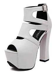Damen-Sandalen-Lässig-PU-Blockabsatz-Vorne offener Schuh / Sandalen-Weiß