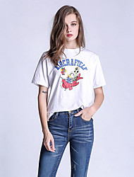 Women's Casual/Daily Simple Summer T-shirt,Print Round Neck ½ Length Sleeve White Cotton Opaque / Thin