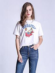 Tee-shirt Aux femmes,Imprimé Décontracté / Quotidien simple Eté ½ Manches Col Arrondi Blanc Coton Opaque / Fin