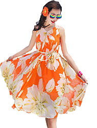 Women's Beach Boho Chiffon Dress,Floral V Neck Above Knee Sleeveless Orange / Yellow Polyester Summer