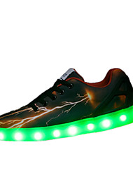 Unissex-Tênis-Conforto Light Up Shoes-Rasteiro-Preto-Tule-Casual